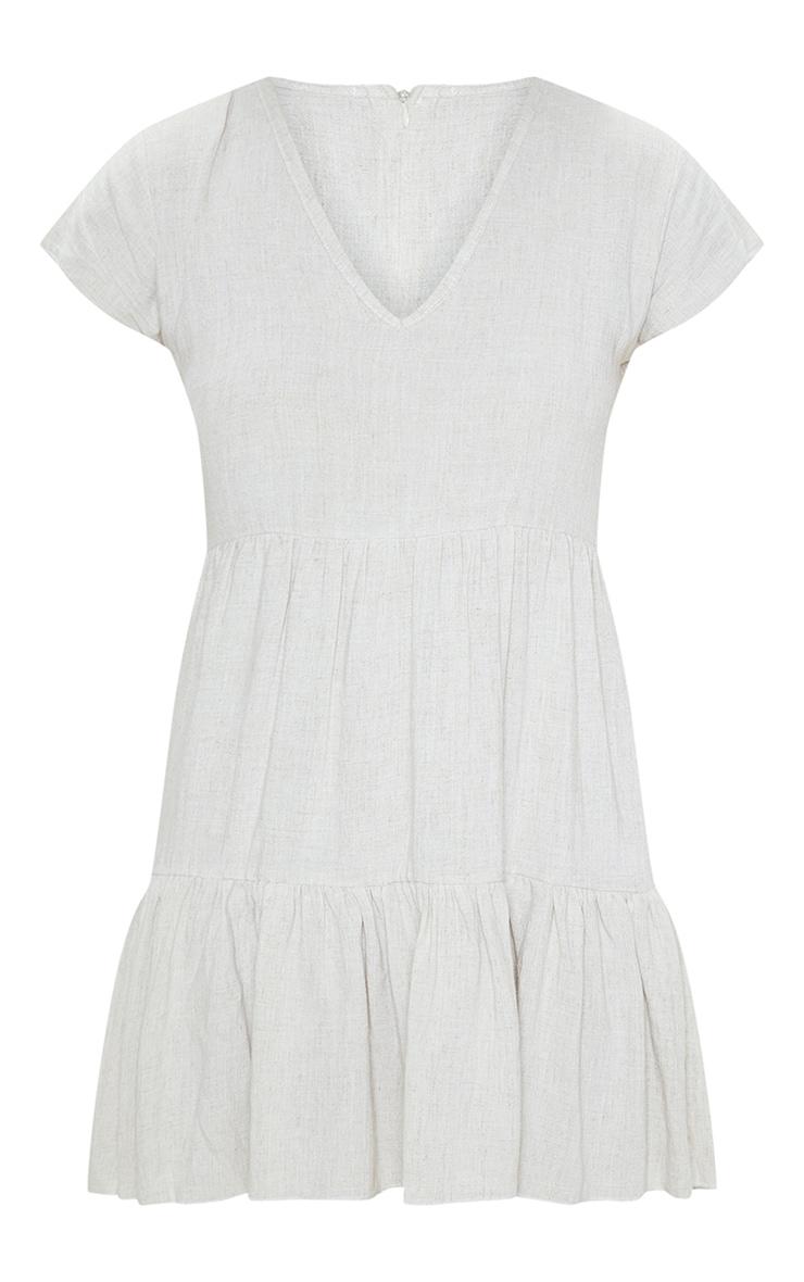 Beige V Neck Frill Tiered Smock Dress 3