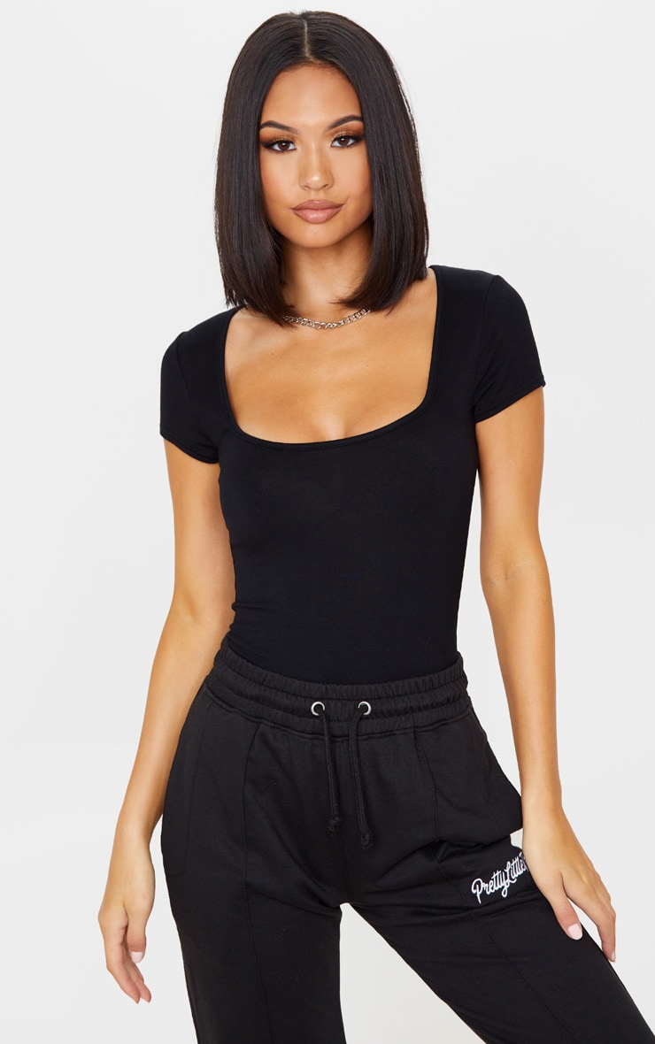 Black Jersey Square Neck Short Sleeve Bodysuit 1