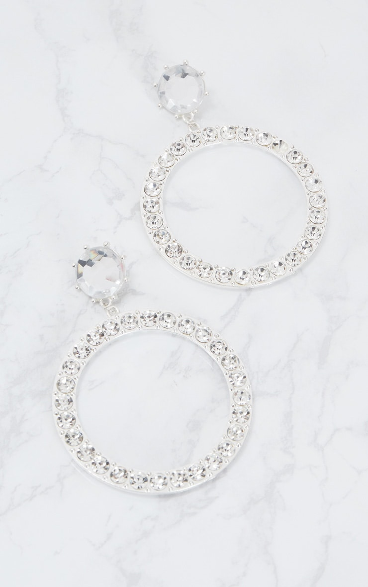 Silver Large Diamante Stud Hoop Earrings 4