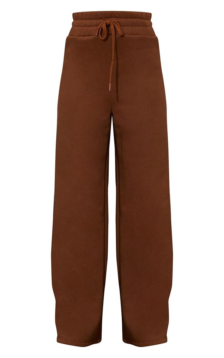 Chocolate Deep Waistband Wide Leg Joggers 5