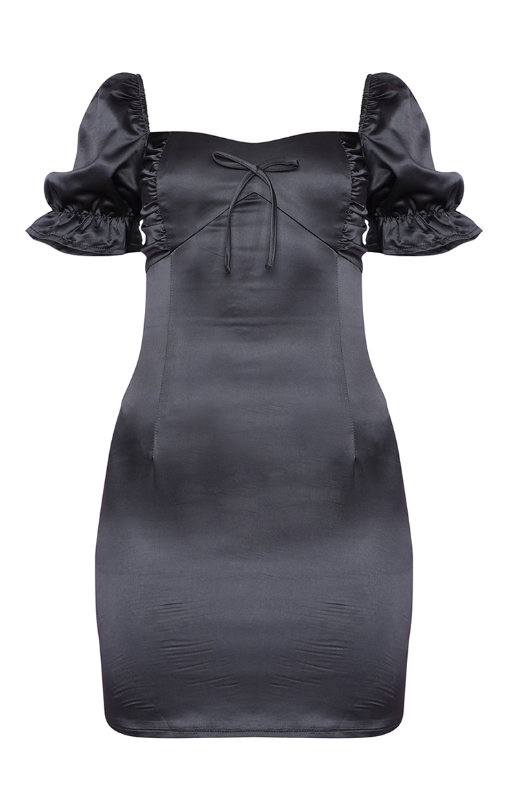 Black Satin Puff Sleeve Bow Detail Bodycon Dress 3