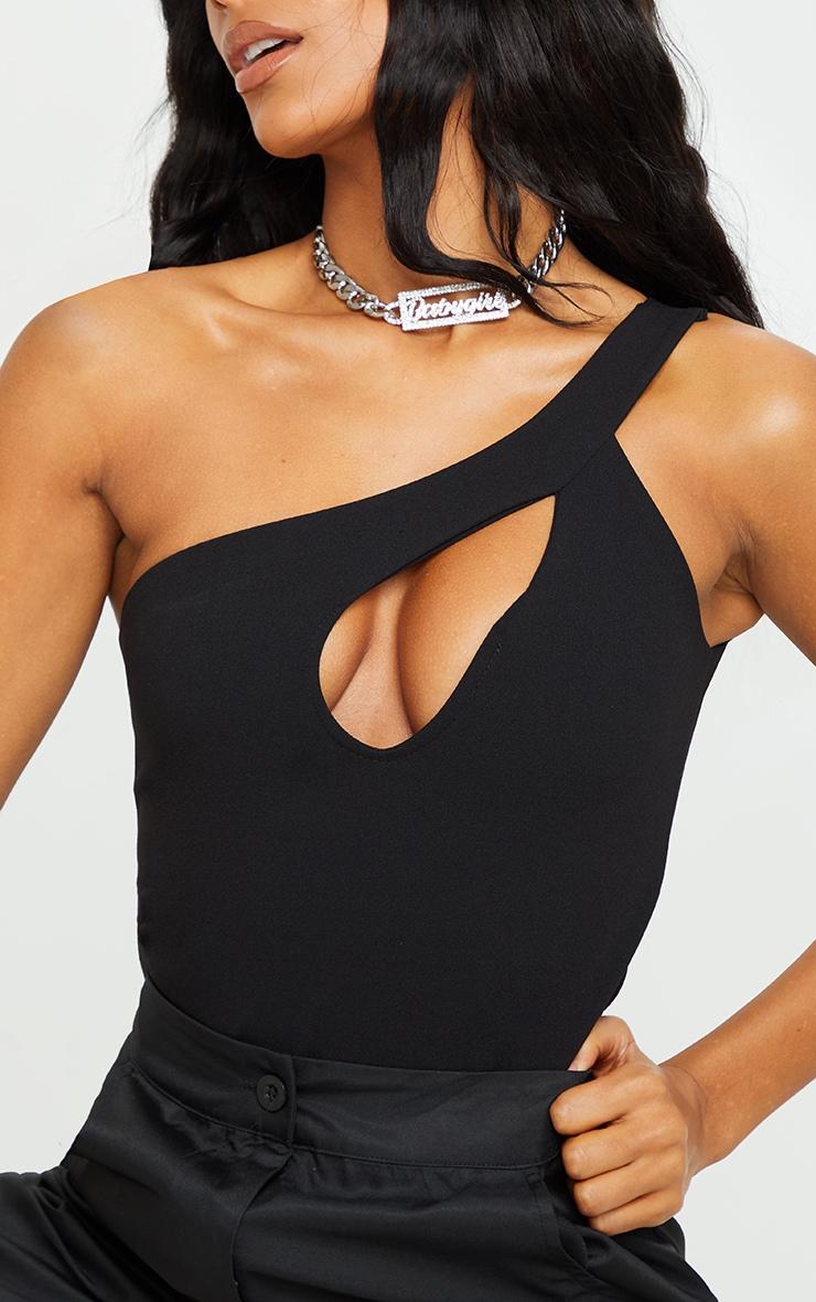 Black Crepe One Shoulder Front Slit Bodysuit 4