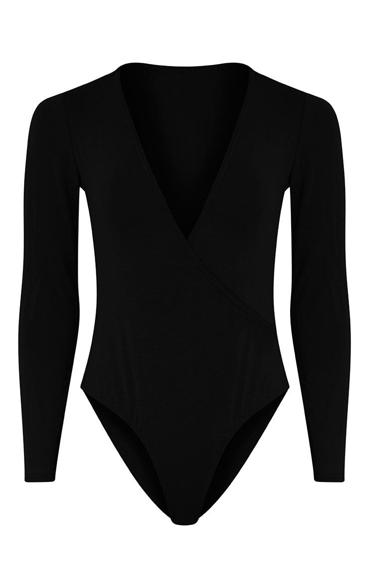 Freida Black Jersey Thong Cross Front Bodysuit 3