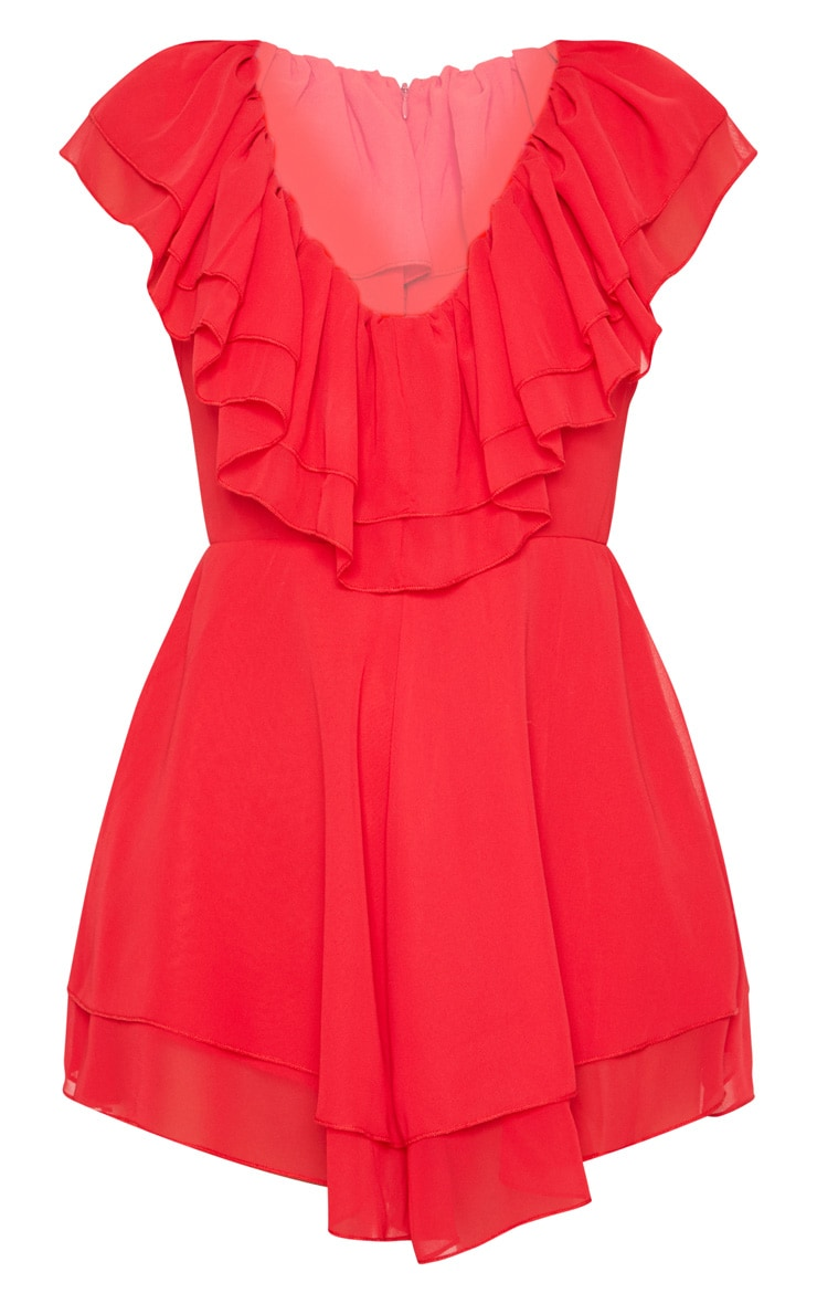 Red Chiffon Frill Plunge Playsuit 3