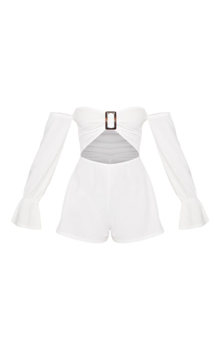 White Tortoise Shell Clasp Playsuit 3