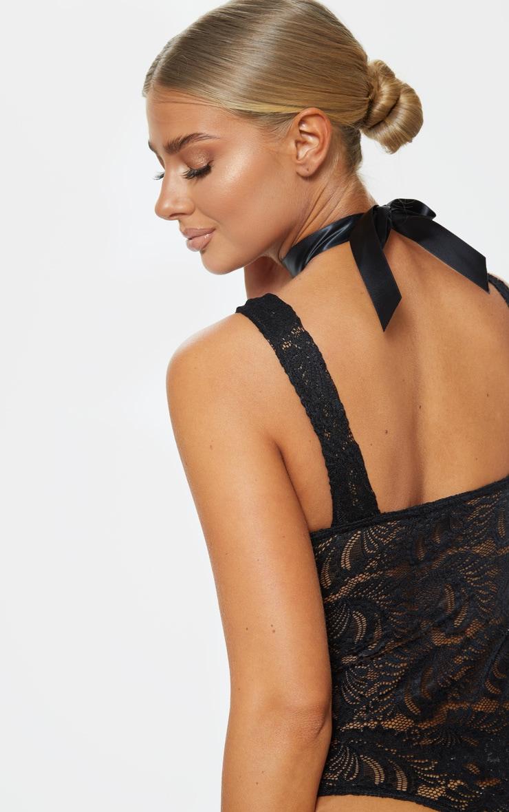 Black Lace Ribbon Detail Bodysuit  6