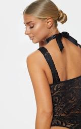 d91723228 Black Lace Ribbon Detail Bodysuit
