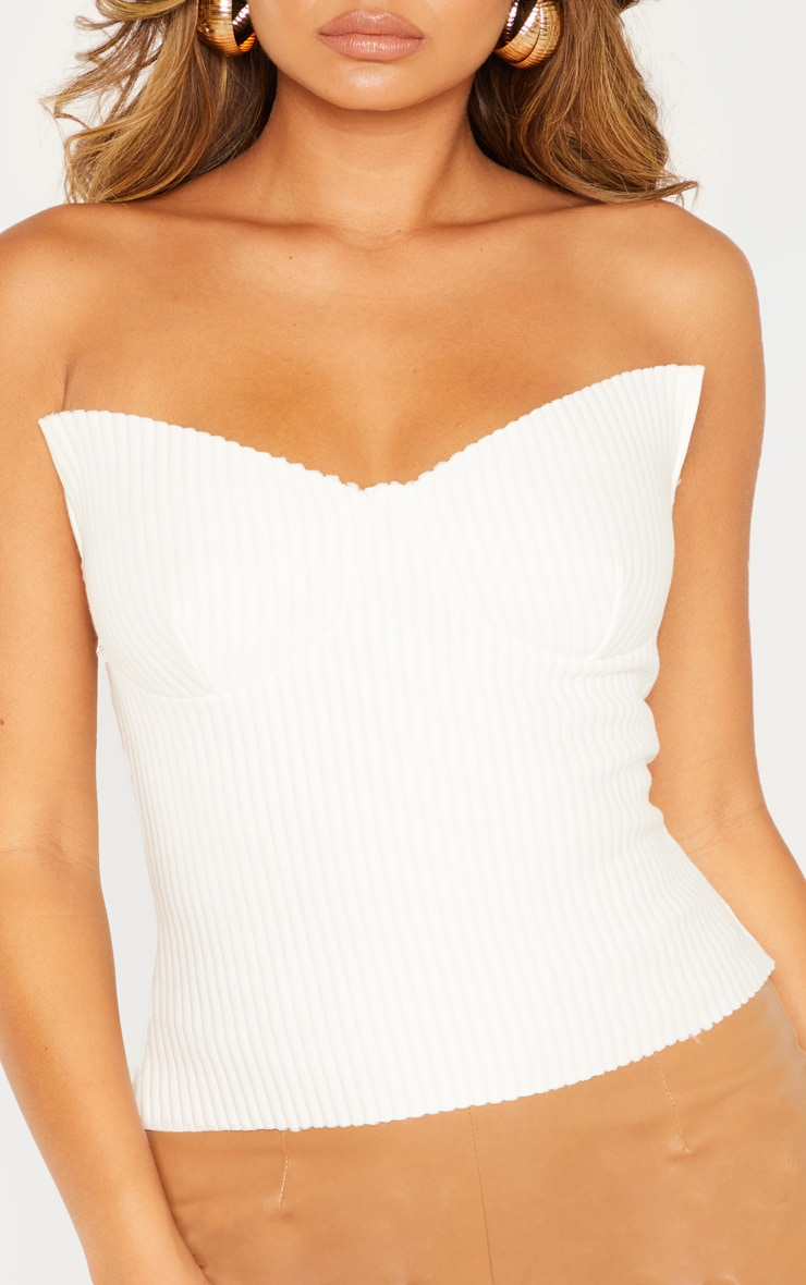 White Brushed Rib Cup Detail Bandeau Top 5