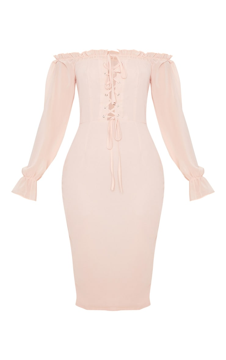 Dusty Pink Bardot Lace Up Chiffon Midi Dress 3