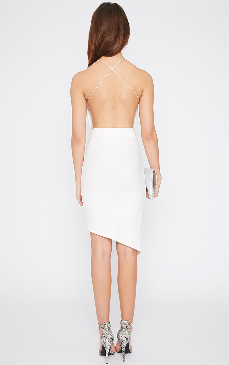 Raye White Cross Back Asymmetric Dress  2