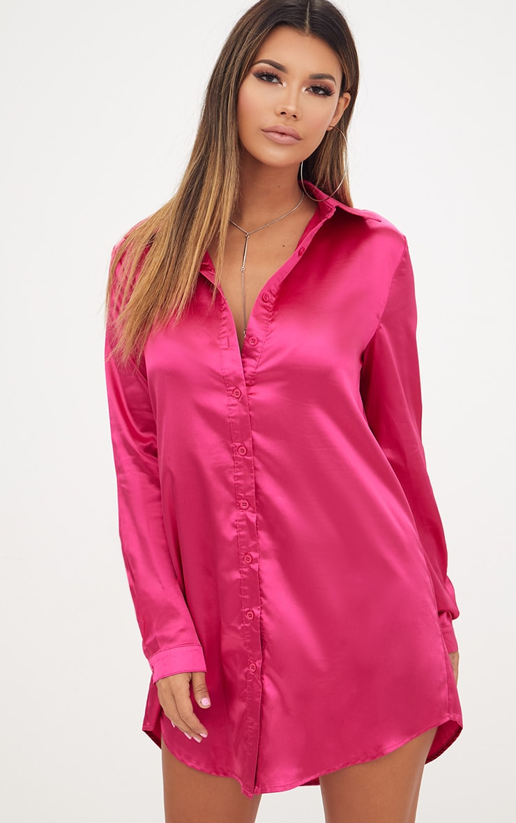 Fuchsia Satin Button Front Shirt Dress 1