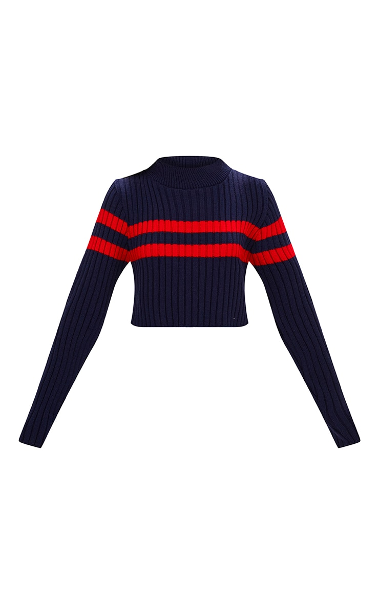Navy Stripe Detail Cropped Knitted Jumper 3