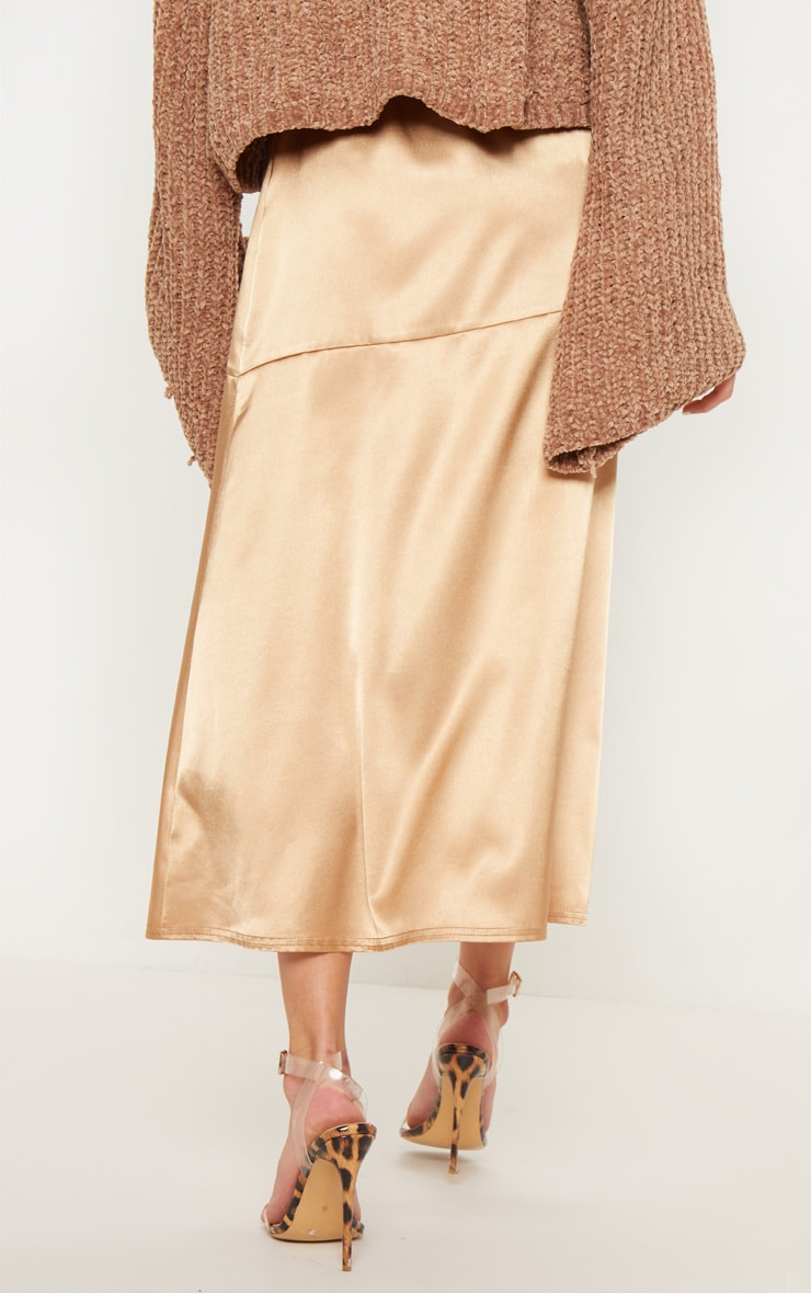 Champagne Satin Asymmetric Panel Floaty Midi Skirt 4