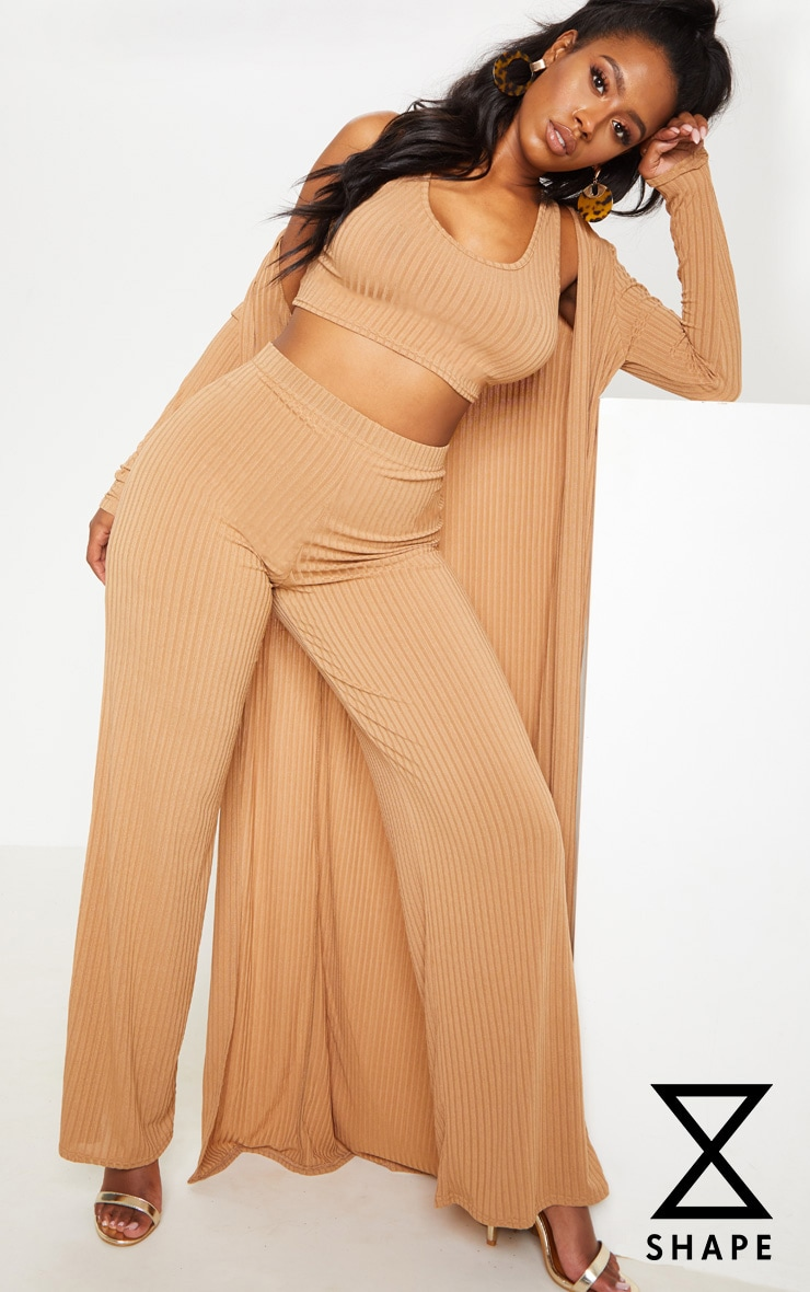 Shape Camel Ribbed Wide Leg Trouser