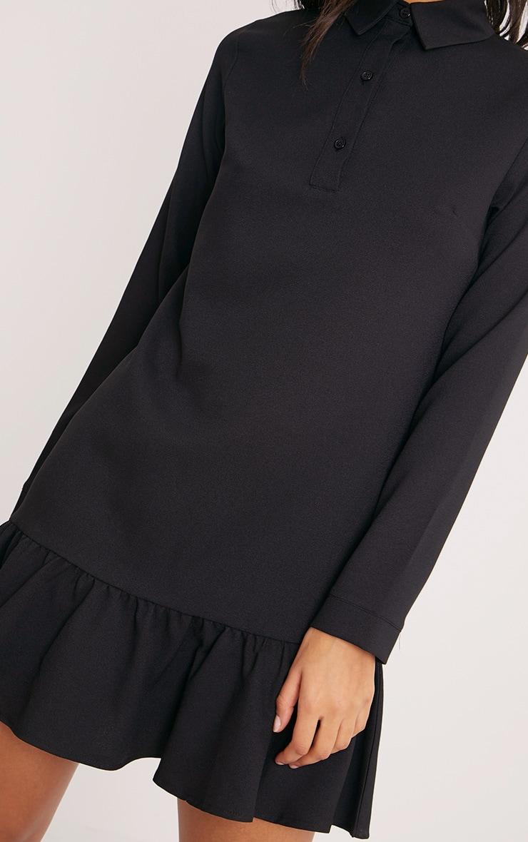 Kiera Black Frill Hem Shirt Dress 5