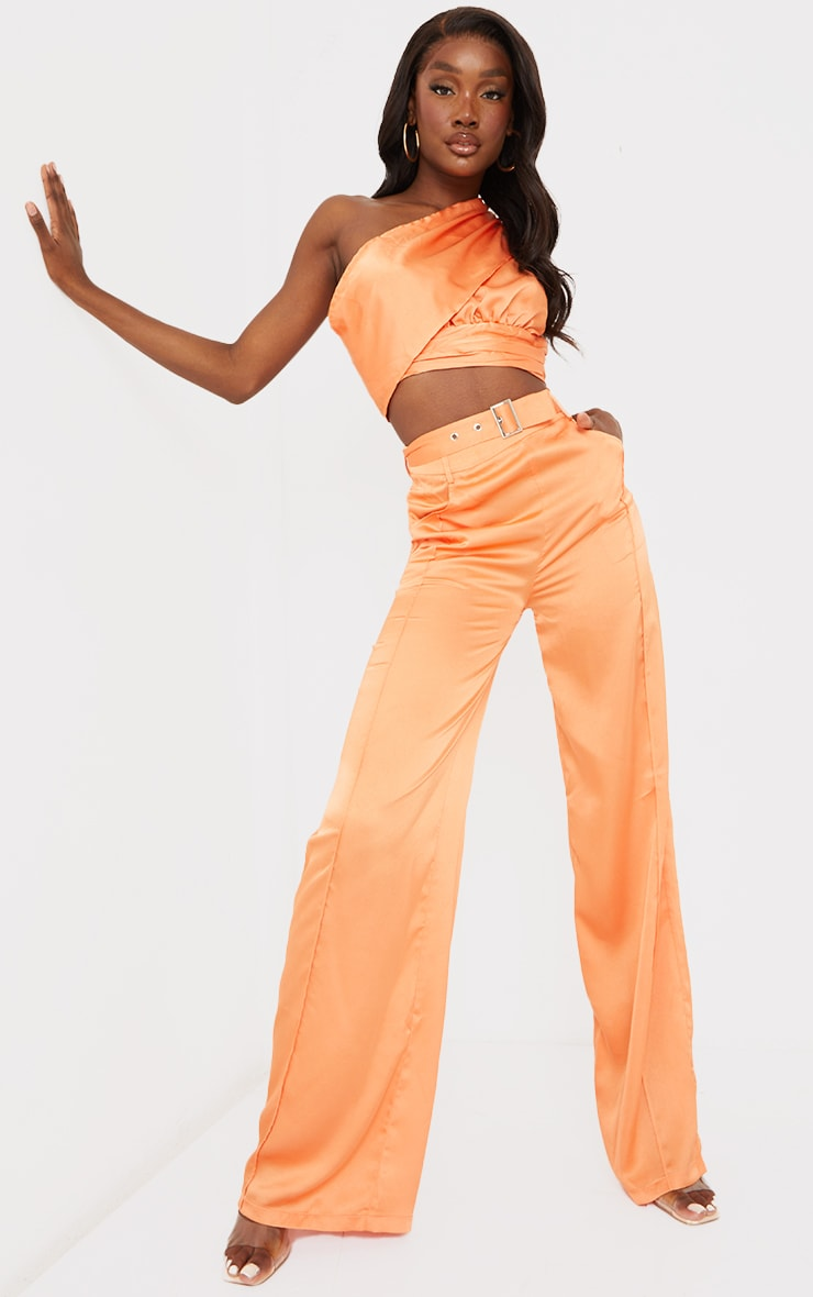 Tall Peach Satin High Waisted Belted Pants 1