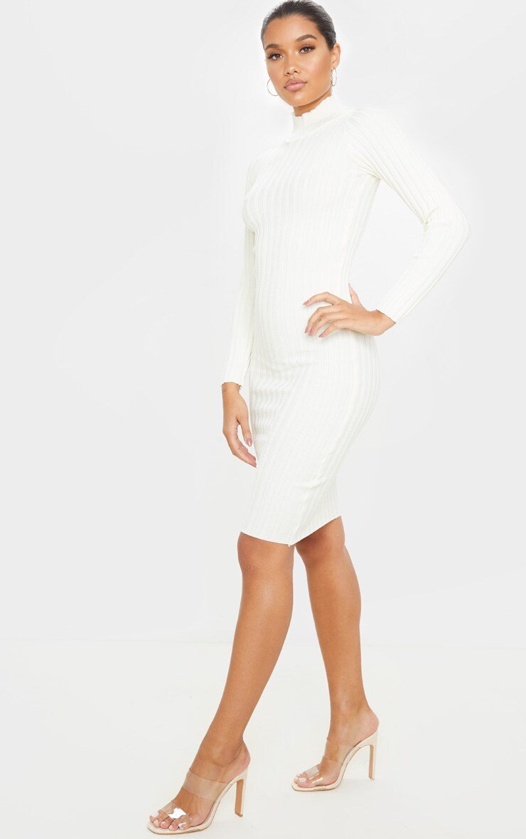Ivory Stretch Knitted Bodycon Midi Dress 4