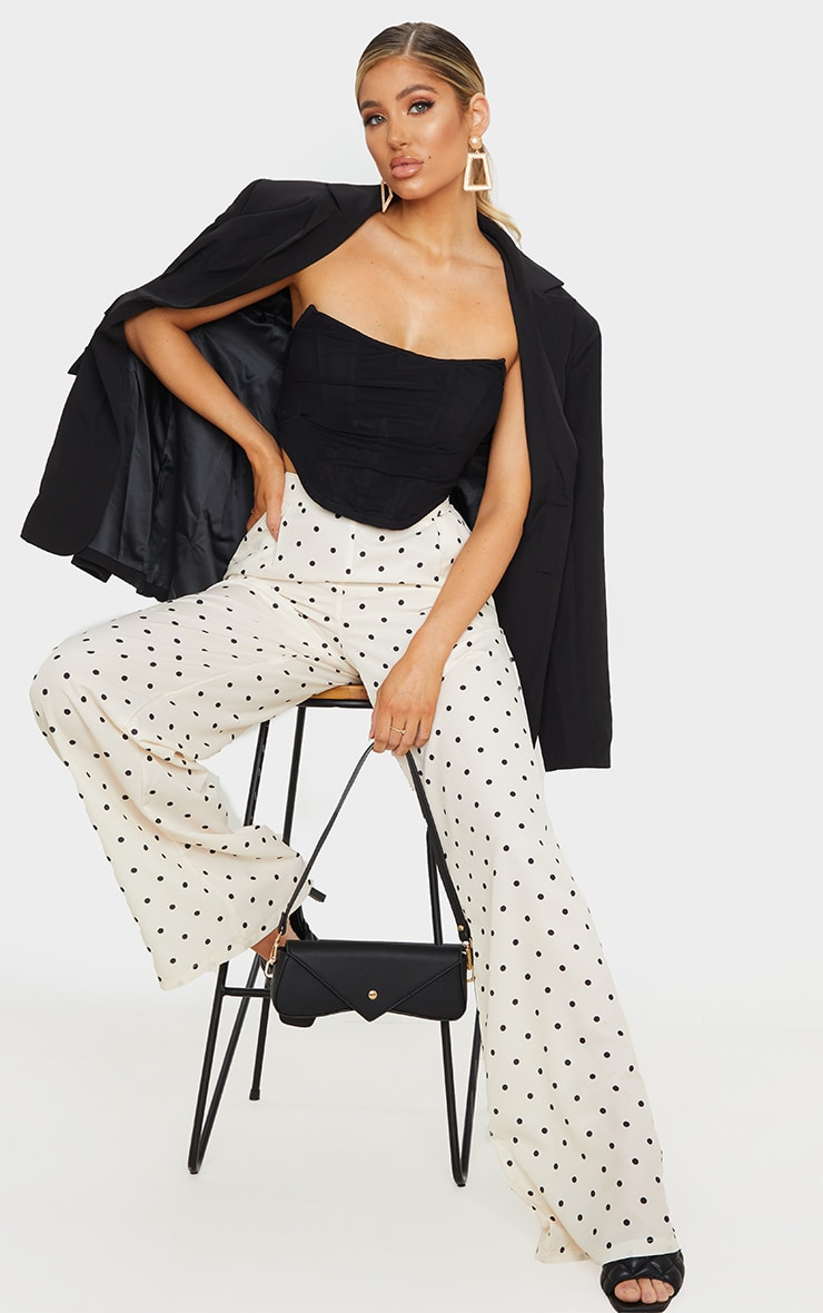 Cream Polka Dot Print Wide Leg Pants 1