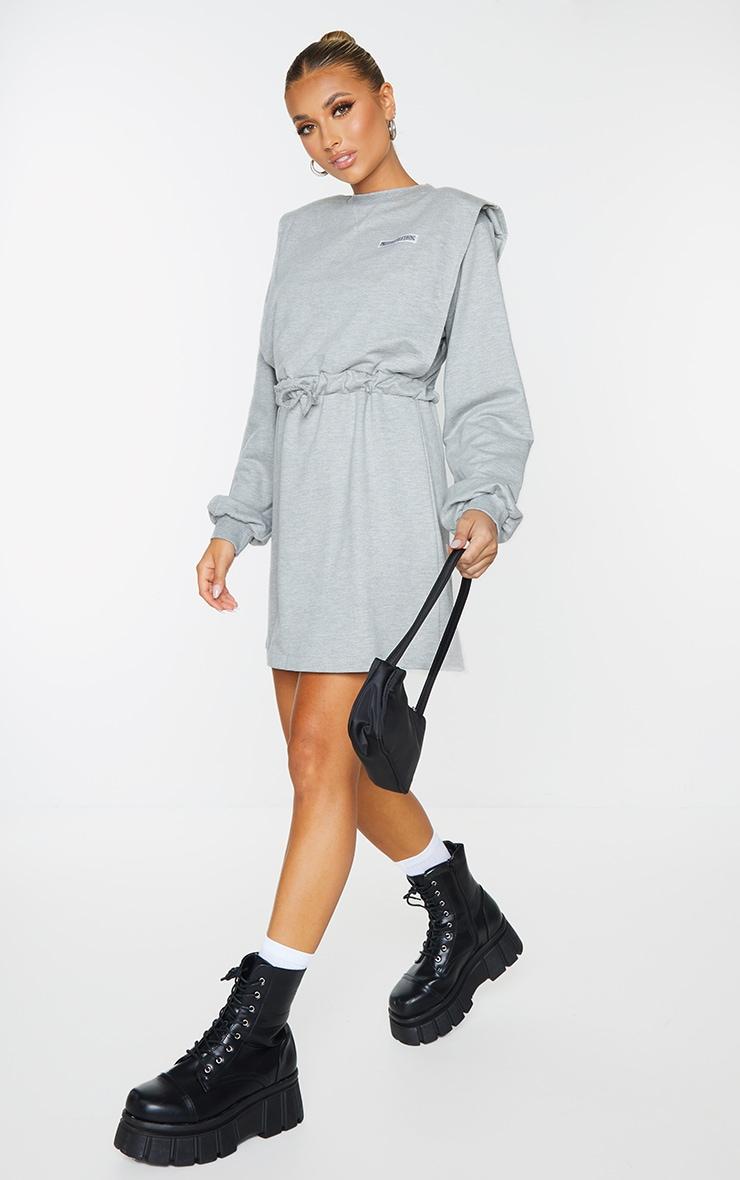 PRETTYLITTLETHING Grey Pintuck Shoulder Pad Sweat Jumper Dress 1