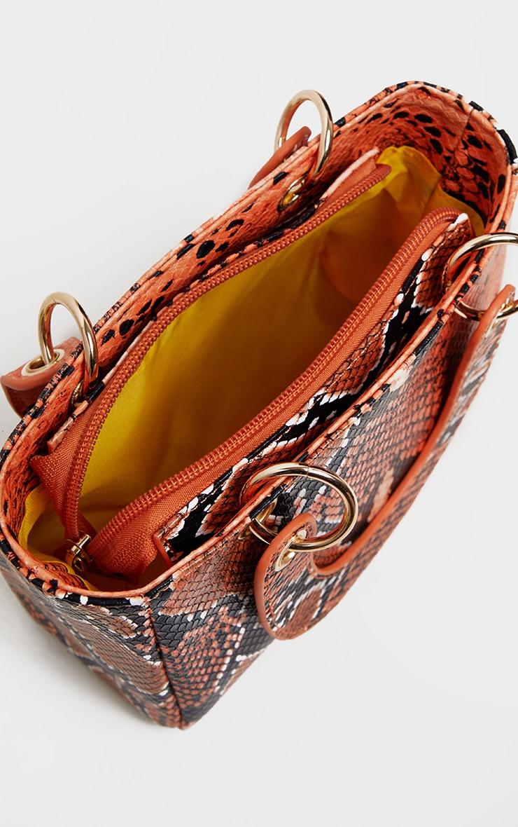 Mini sac à main orange effet serpent à détail anneaux 3