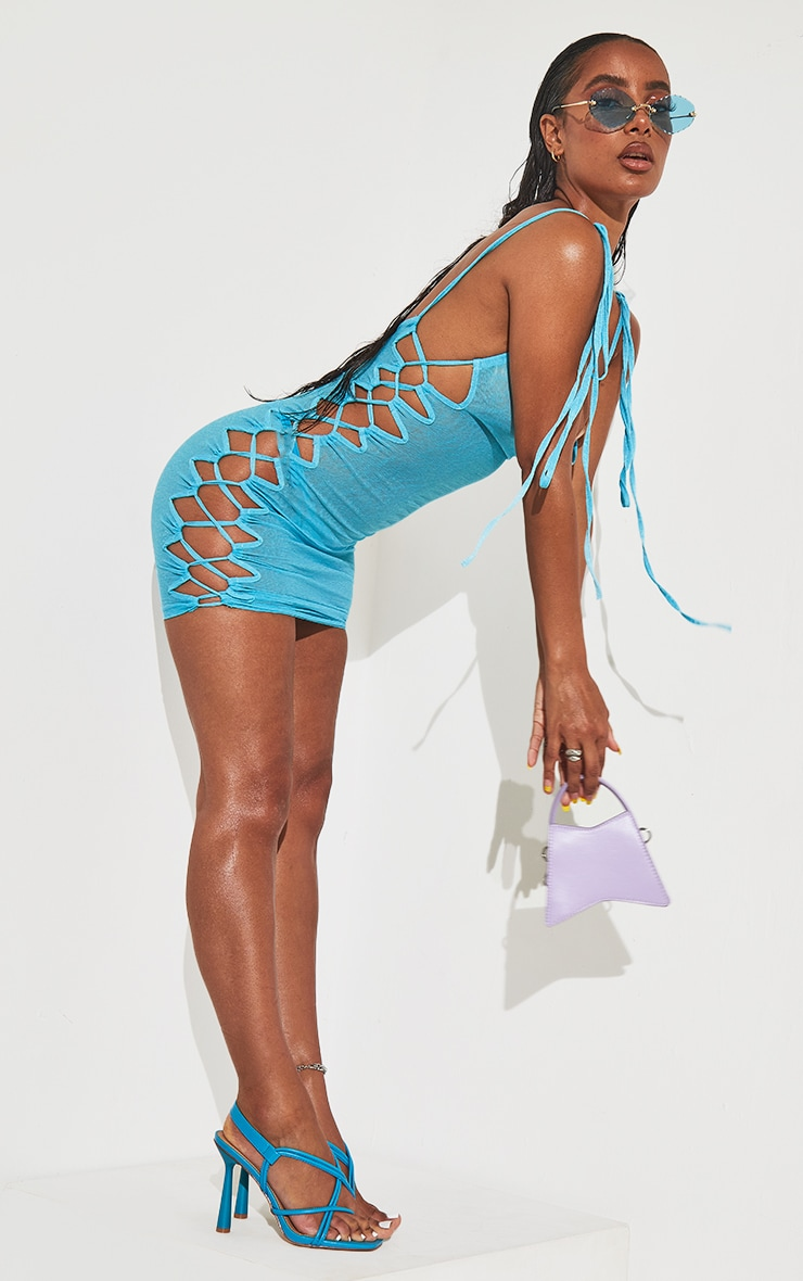 Blue Lace Up Shoulder Tie Beach Dress 7