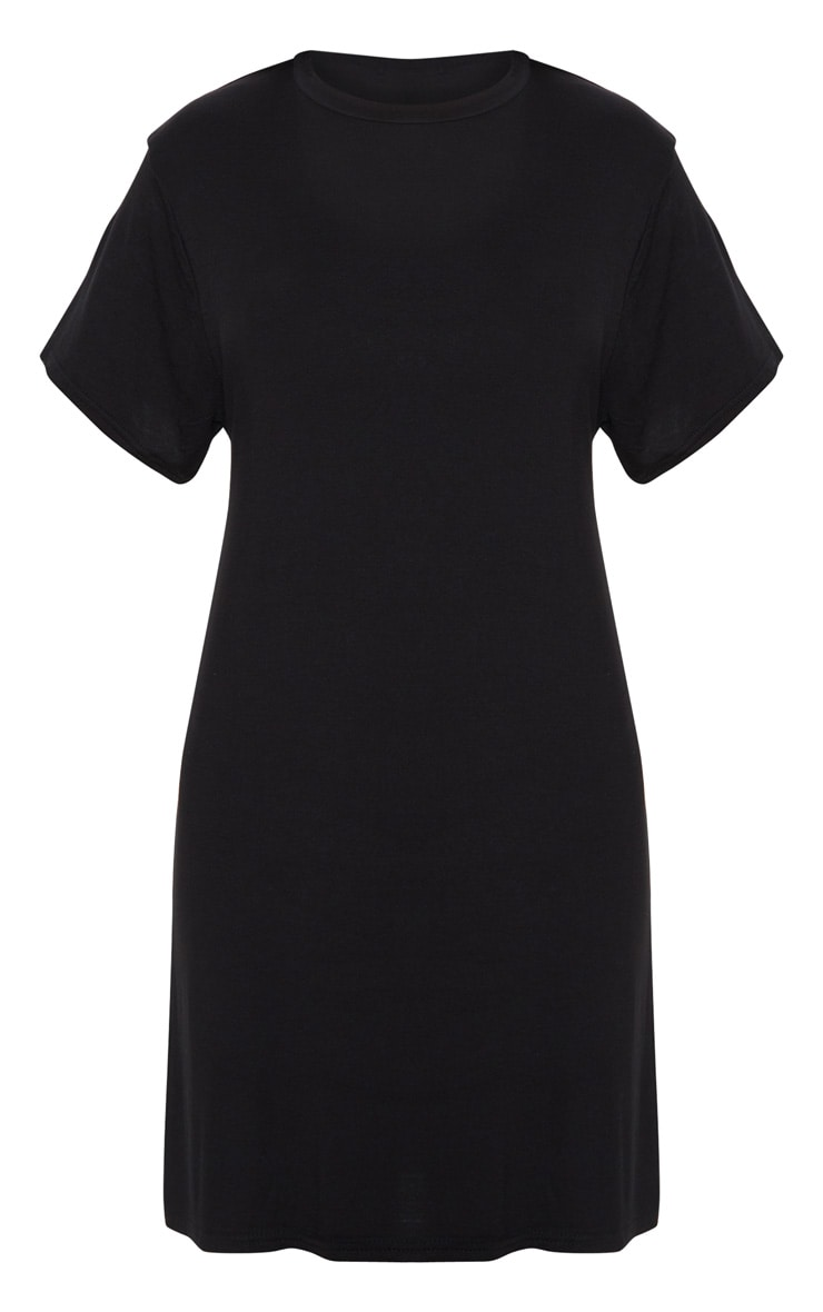 Basic Black Short Sleeve T Shirt Dress 3