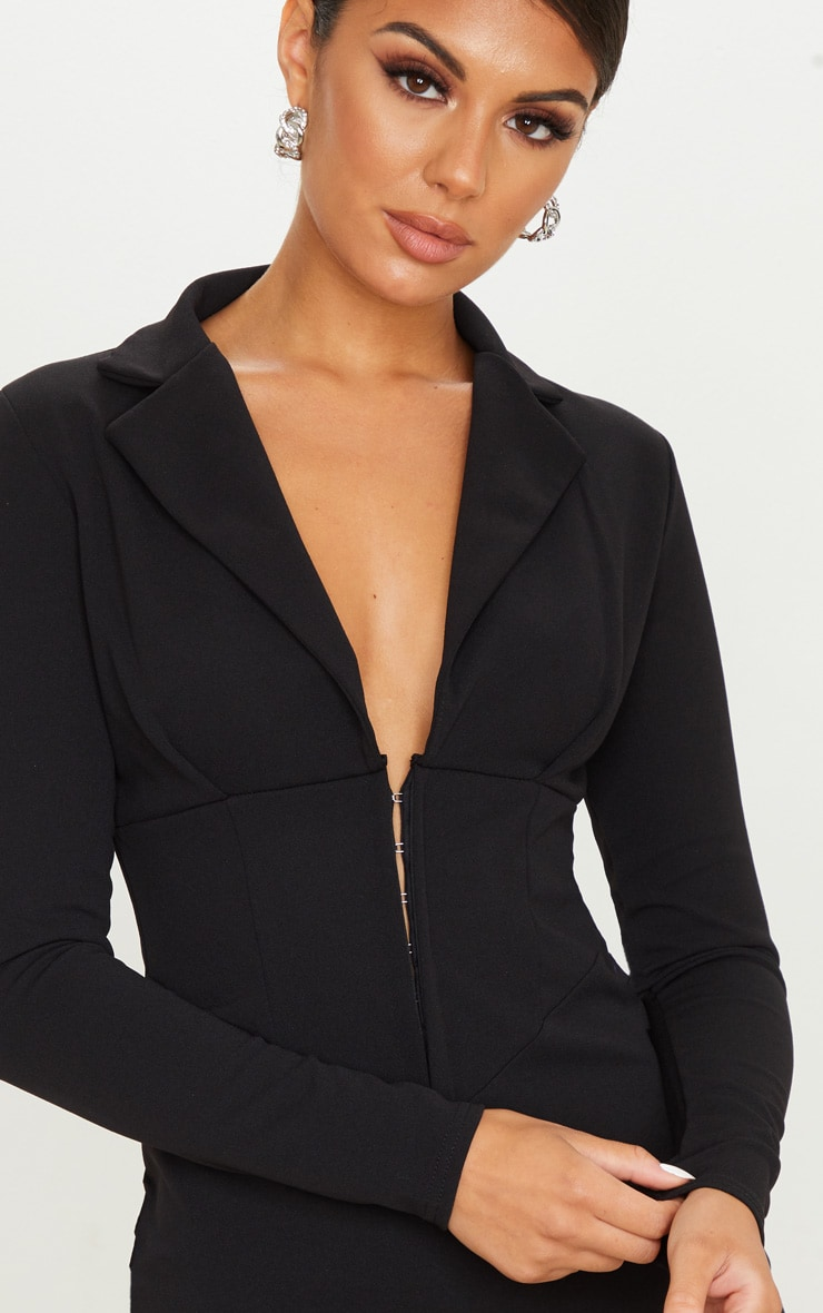 Black Long Sleeve Corset Detail Blazer Dress 5