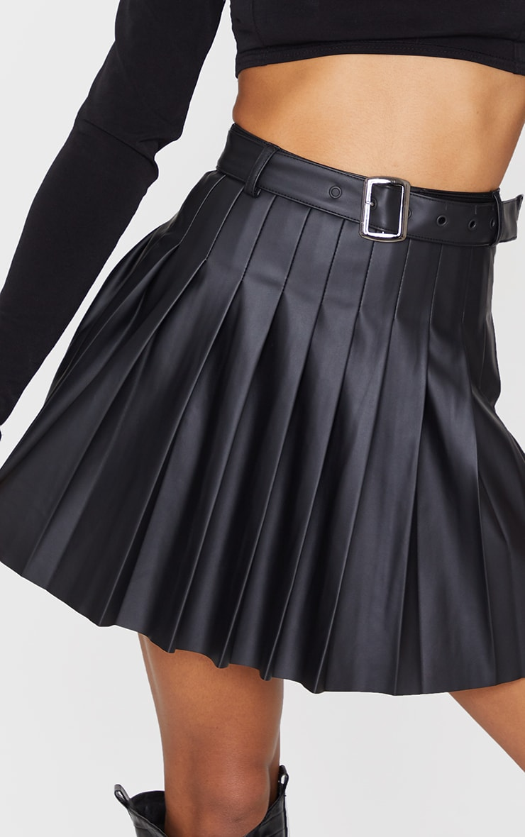 Black Faux Leather Belted Skater Skirt 5