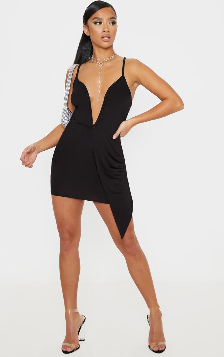 Petite - Robe moulante décolletée noire en jersey à détail drapé 4
