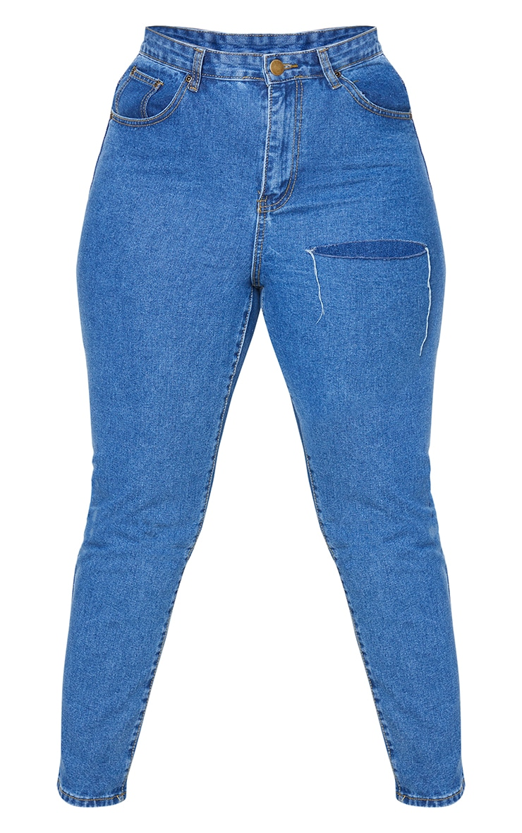 Plus Mid Blue Washed Slit Detail Straight Leg Jeans 5