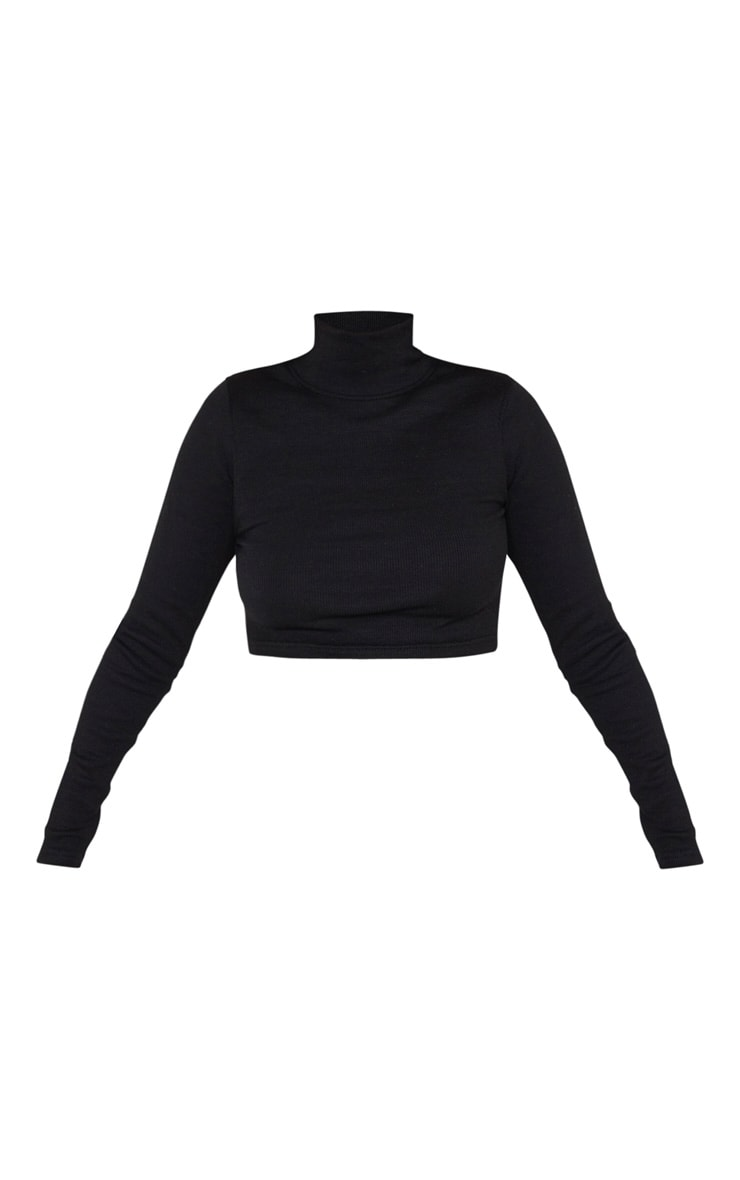 Black High Neck Structured Rib Long Sleeve Crop Top 3