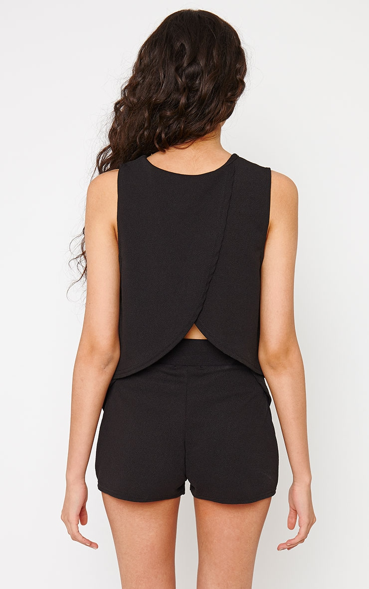 Devon Black Wrap Back Crop Top 2