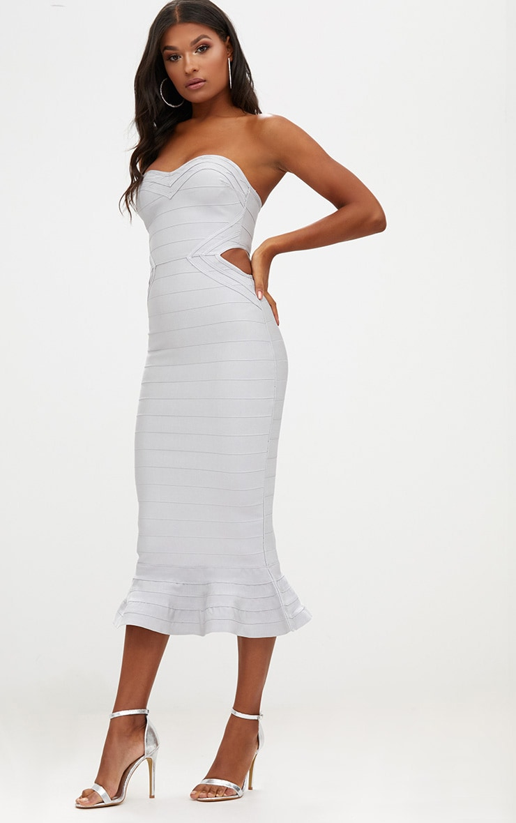 Ice Grey Ribbed Frill Hem Bandage Midi Dress 4