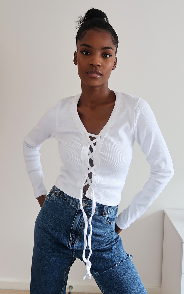 White Thick Rib Lace Up Top 1