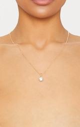 Gold Diamante Pendant Necklace 1