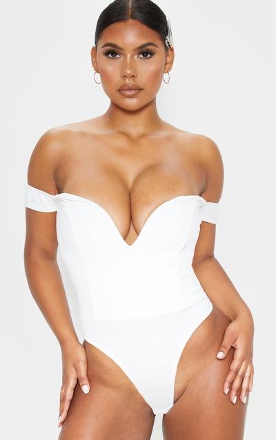 White V Bar Bardot Bodysuit