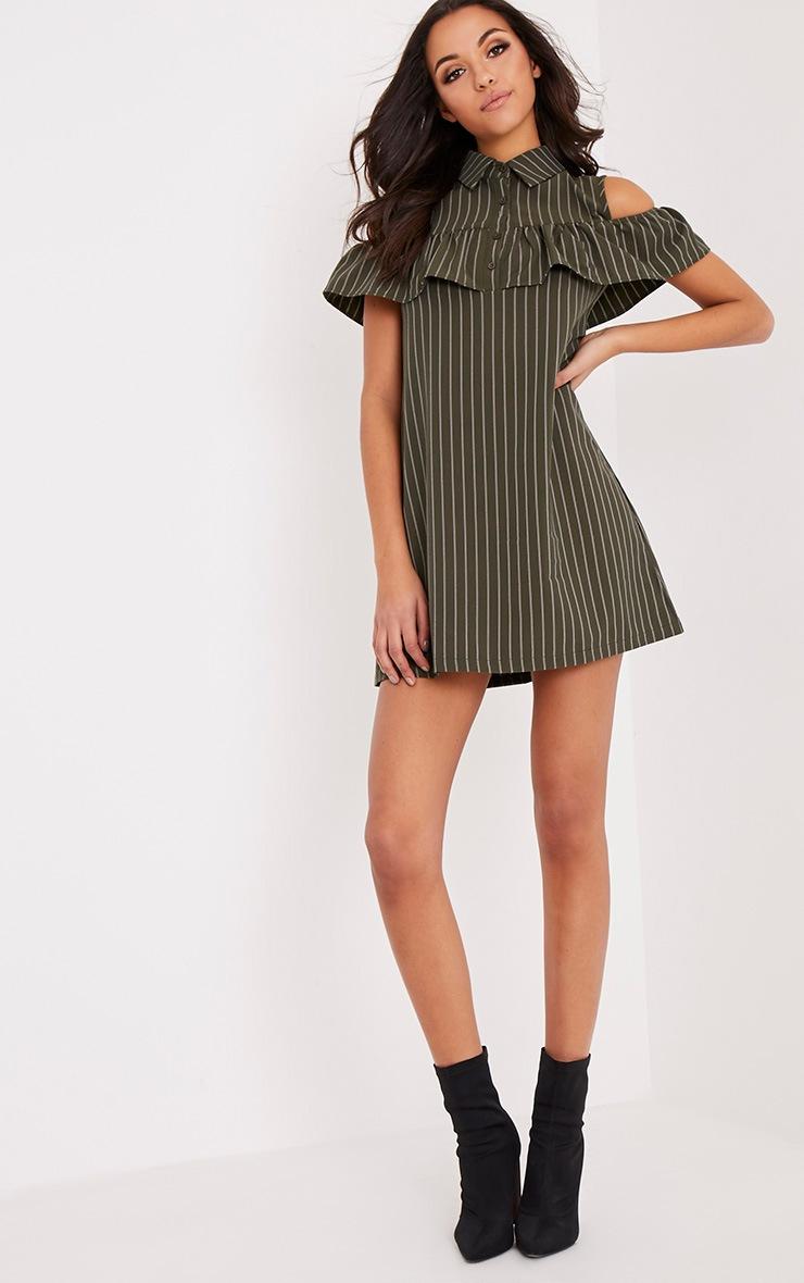 Ashlie Khaki Pin Stripe Cold Shoulder Shirt Dress 5