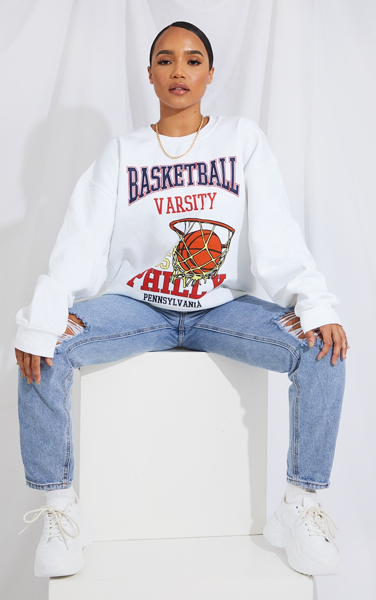 Cream Basketball Varsity Slogan Sweatshirt 3
