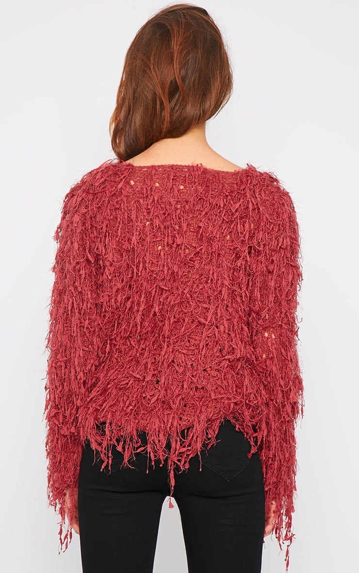 Alvery Wine Shaggy Knit Jumper  2