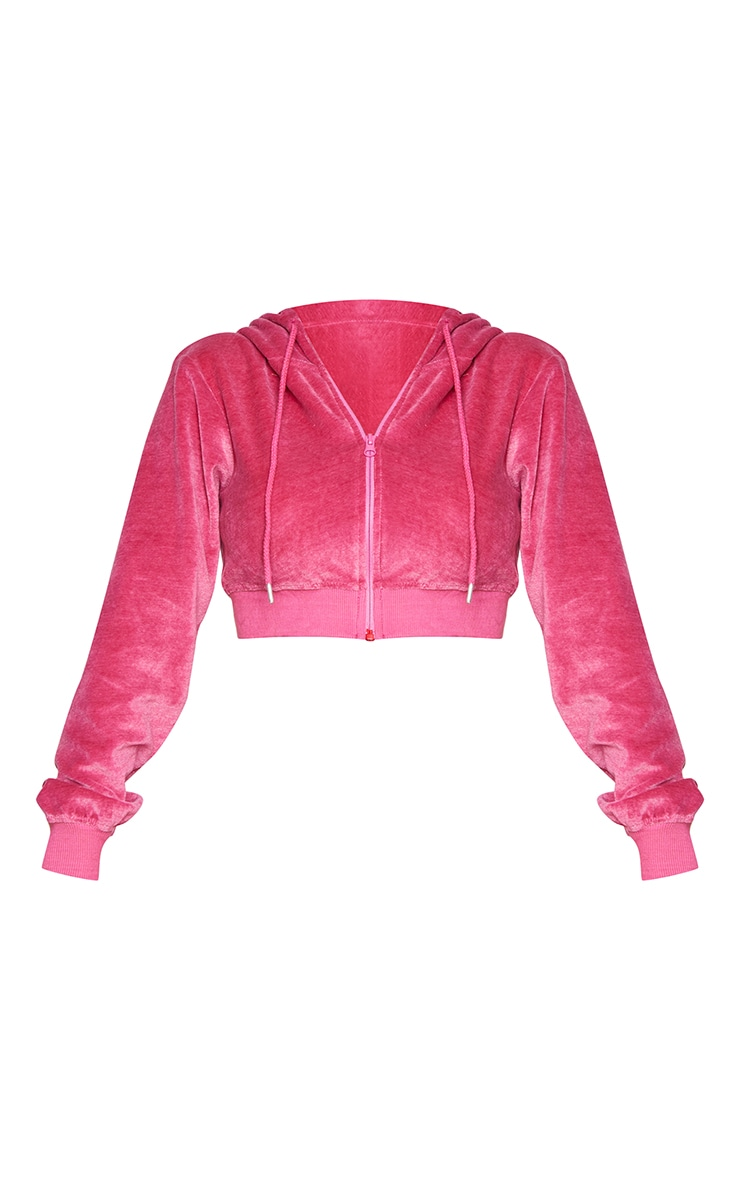 PRETTYLITTLETHING Shape Hot Pink Velour Extreme Crop Sweater 5