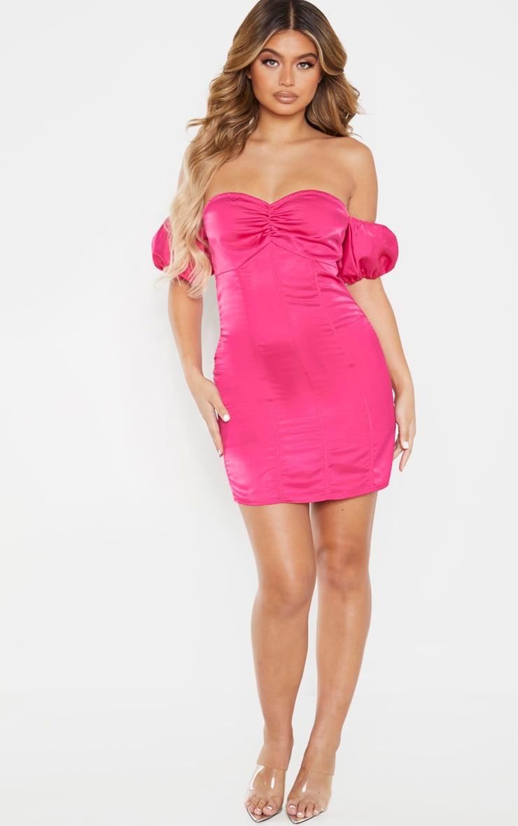 Pink Satin Binding Detail Bardot Bodycon Dress 4