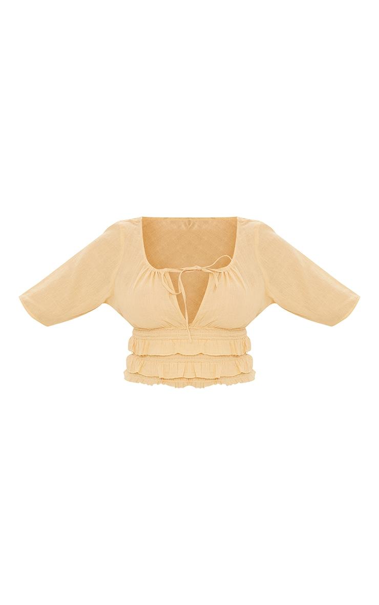 Sand Linen Look Tie Ruffle Hem Short Sleeve Crop Top 5
