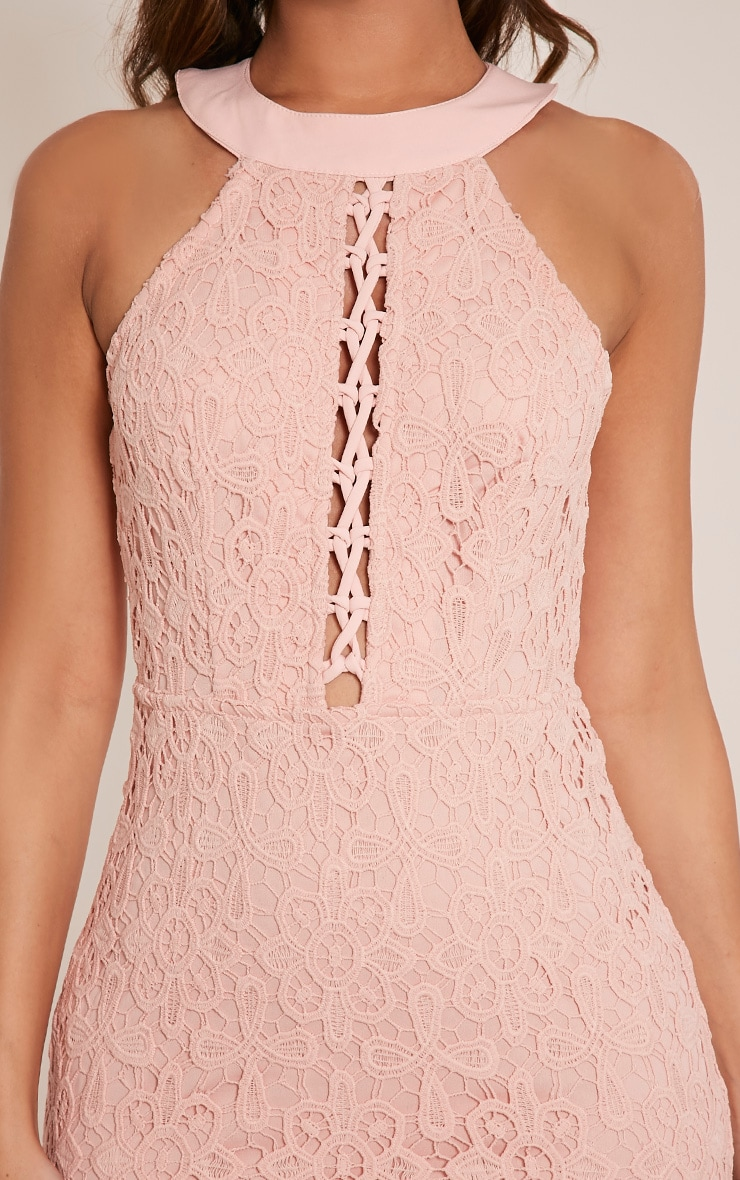 Leliana Pink Crochet Lace Neck Detail Bodycon Dress 6