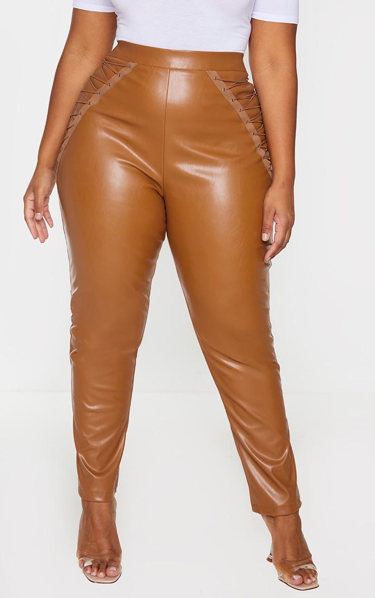 Plus Tan PU Lace Up Detail Pants 2