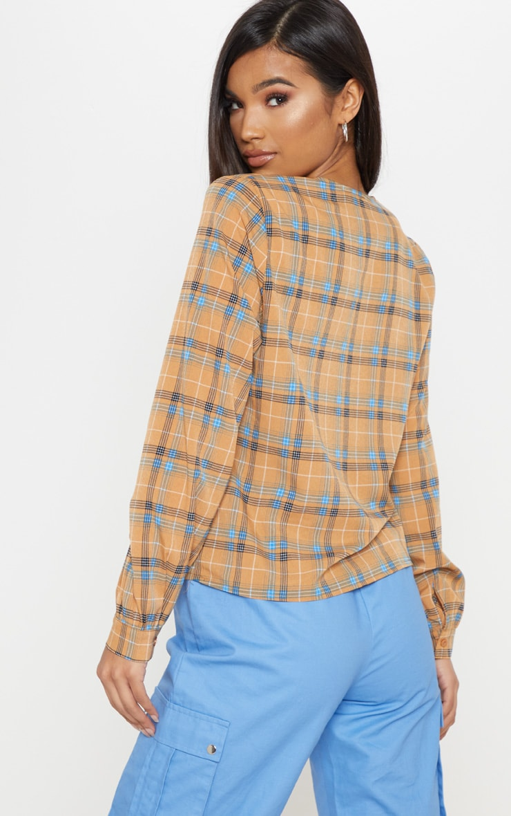 Mustard Check Plunge Long Sleeve Top 2