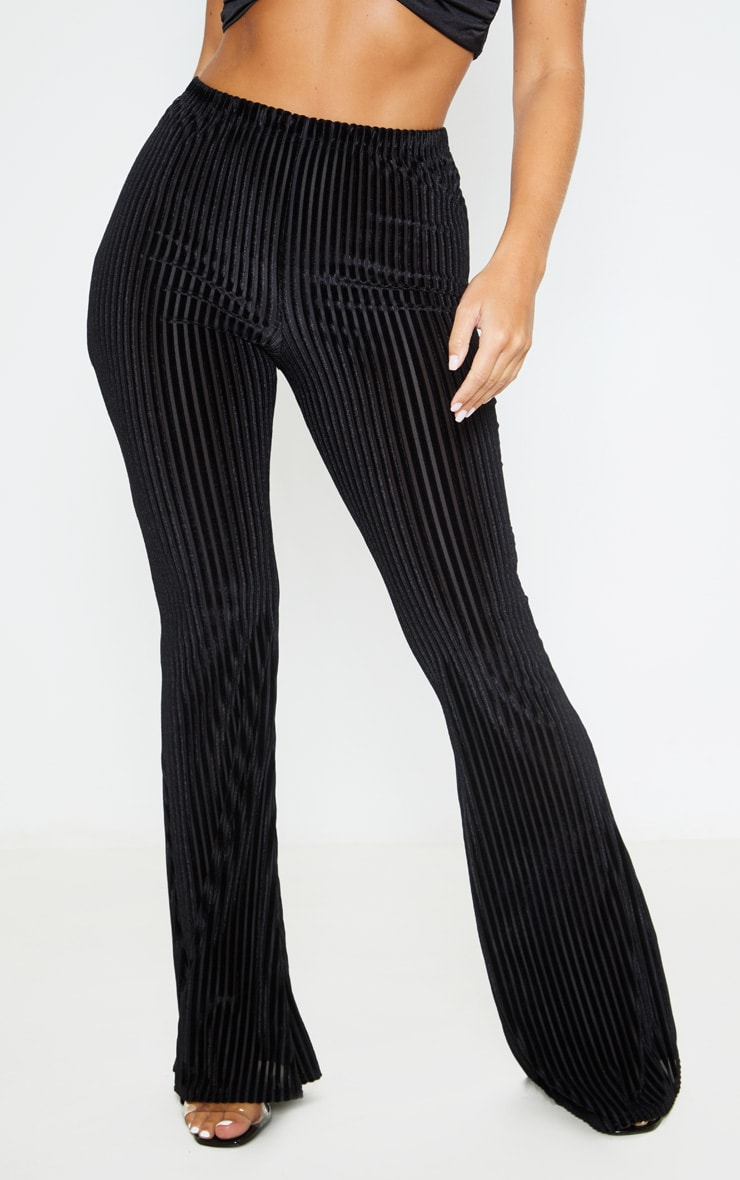 Black Velvet Striped Flare Pants 2