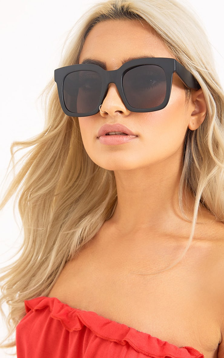 Matte Black Oversized Square Sunglasses 2