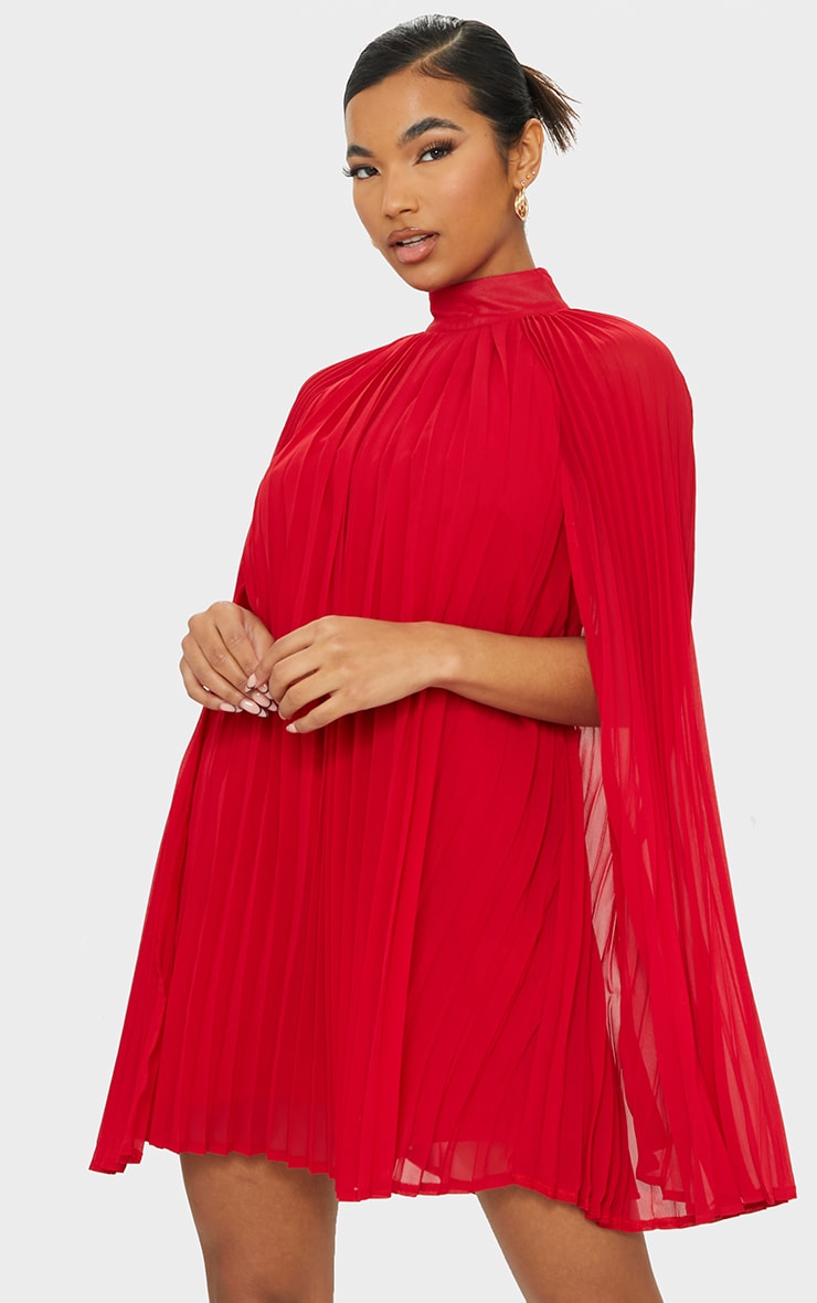 Red Pleated Cape High Neck Shift Dress 1