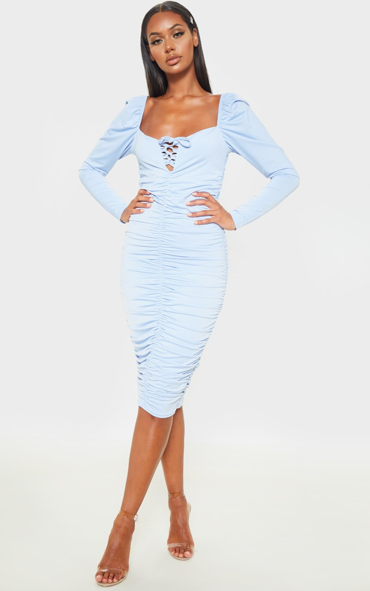 Baby Blue Square Neck Lace Up Ruched Midi Dress