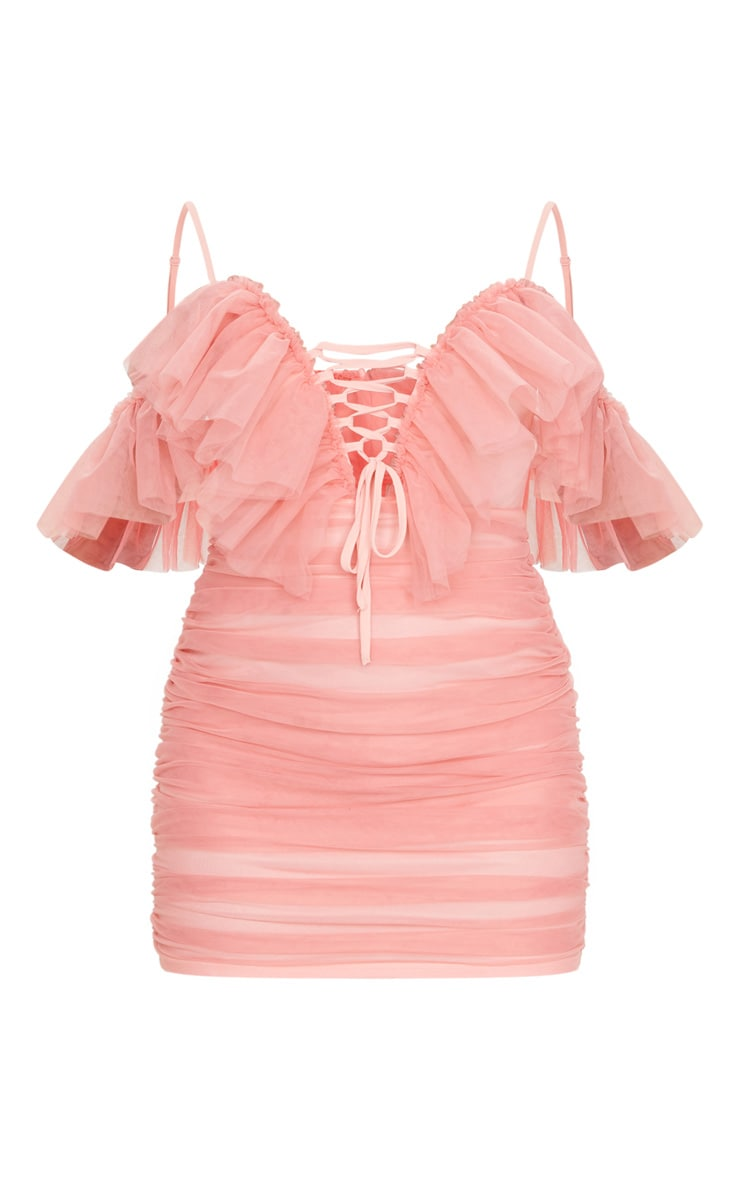 Pink Mesh Ruffle Tie Front Bodycon Dress 5